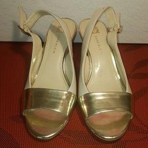 Anne Klein Gold and Cream Heels